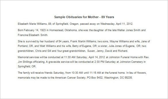 Obituary Template for Mother – 7+ Free Word, Excel, PDF Format ...