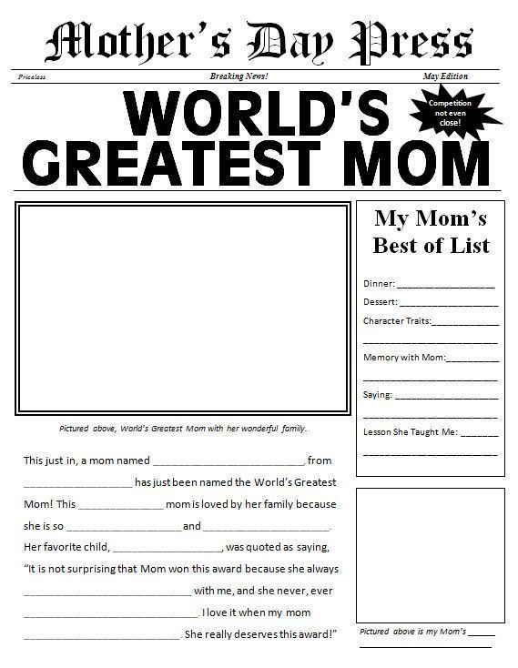 Free printable Mother's Day Newspaper Template | Holiday ...