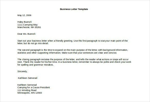 Business Letter Doc | The Letter Sample