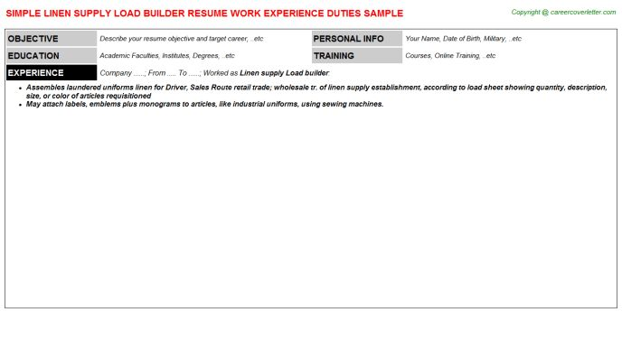 Linen Supply Load Builder Job Title Docs