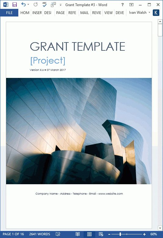 Grant Proposal Template - MS Word with Free Cover Letter & Budget Form