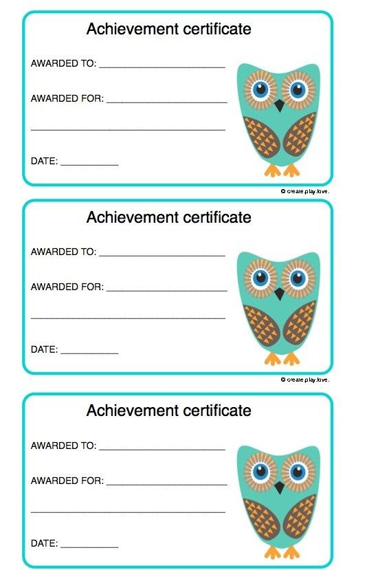 Achievement certificates for kids | Create. Play. Love.