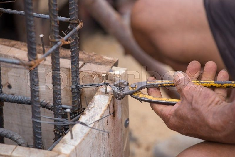 Jig for bending steel rebar in construction site | Stock Photo ...