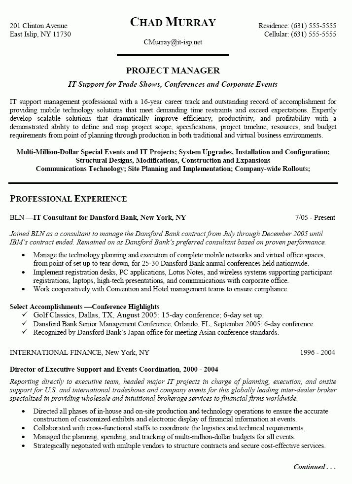 Sample IT Project Manager Resume | Free Resumes Tips