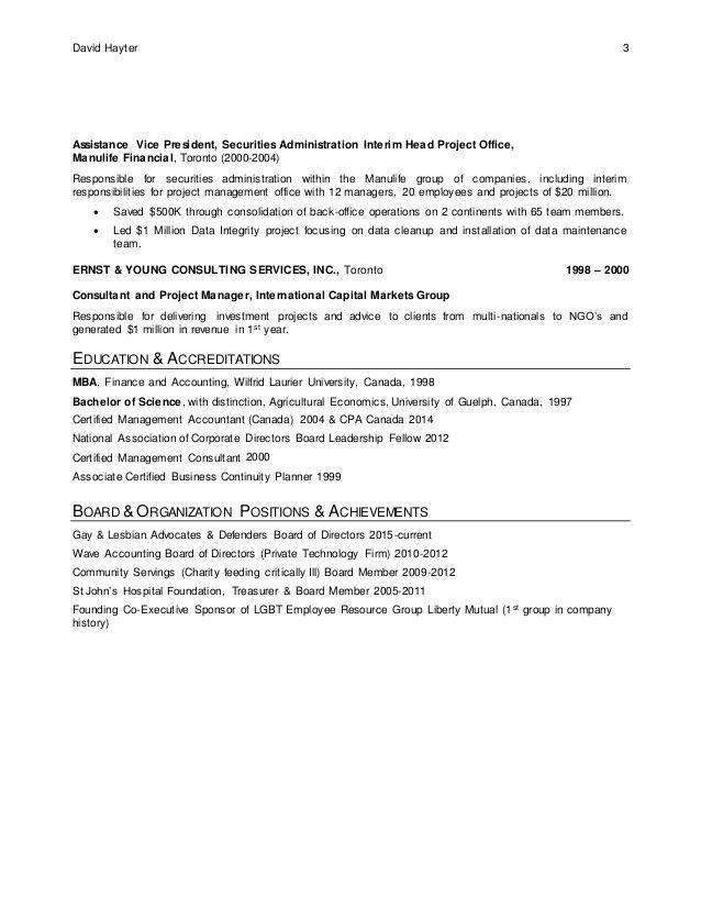 David Hayter - Resume - Aug 2016