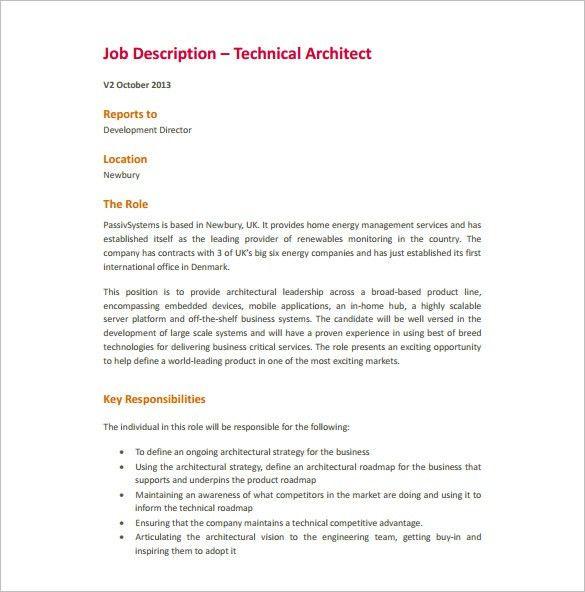 it architect job description by infotech. project architect job ...