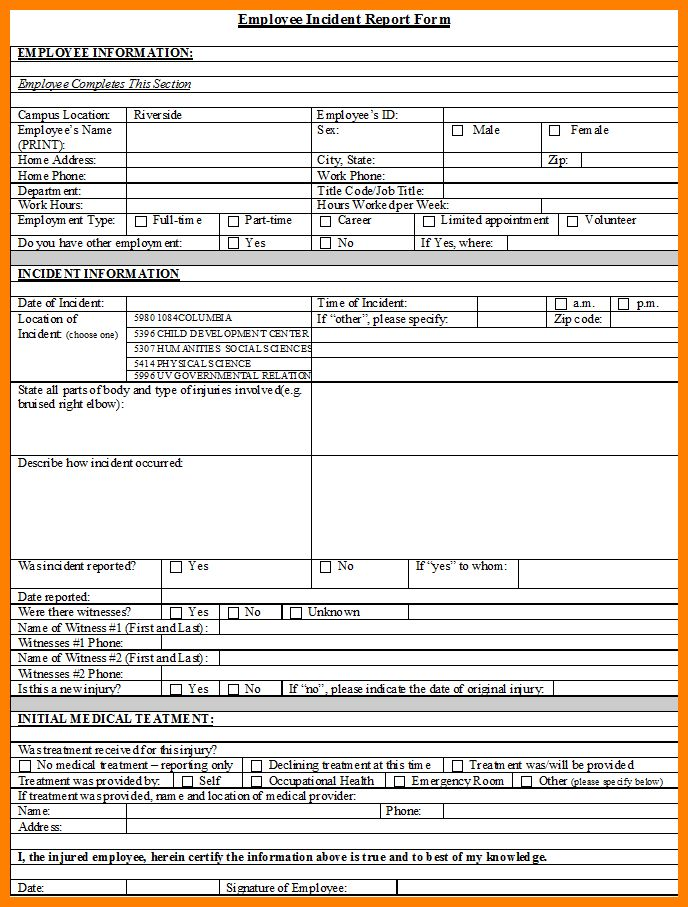 8+ employee incident report form template | job resumed