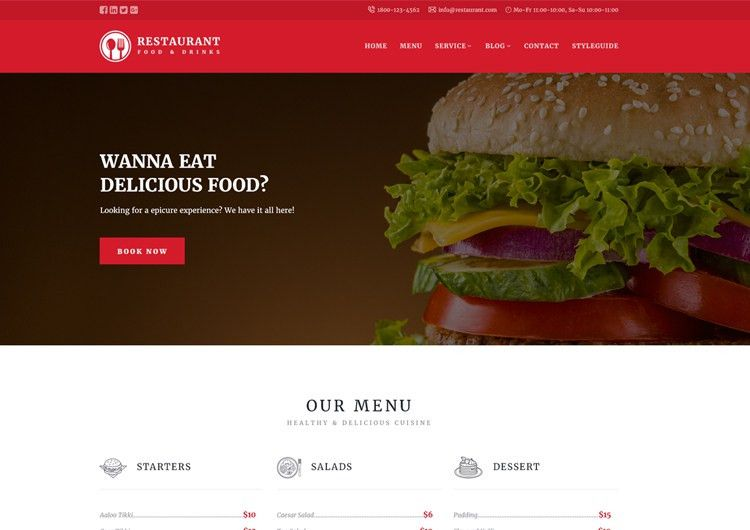 Restaurant Responsive Website Templates Free Download - Ease Template
