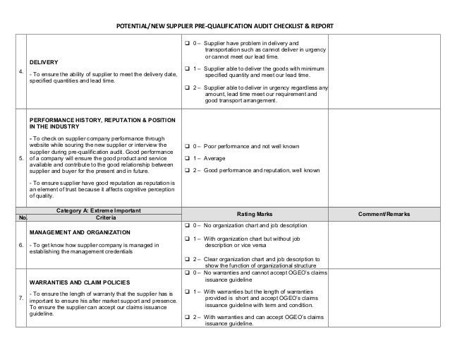 Pre qualification audit checklist & report