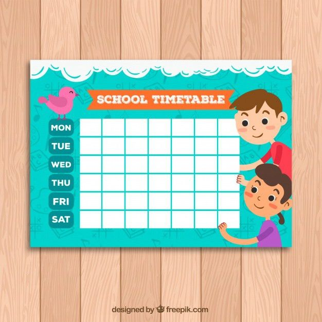 Cute school timetable template with kids and bird Vector | Free ...