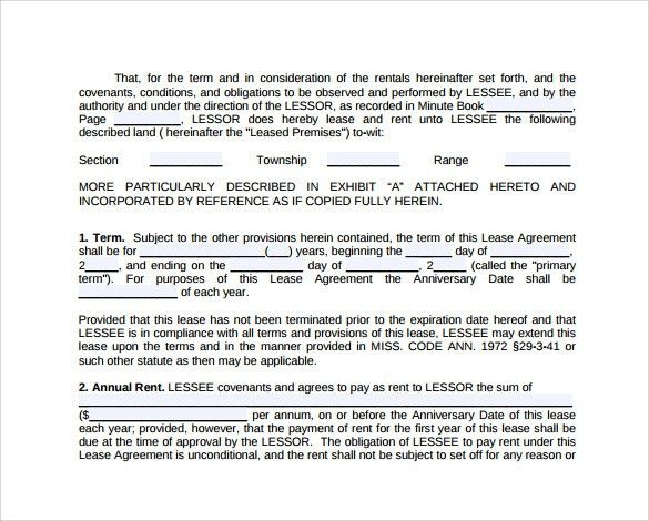 Land Lease Agreement Form Free - cv01.billybullock.us