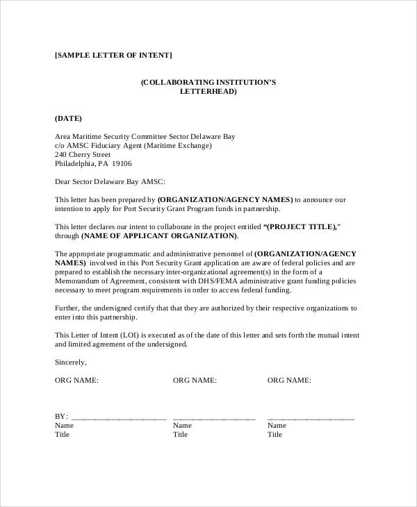 letter of intent example