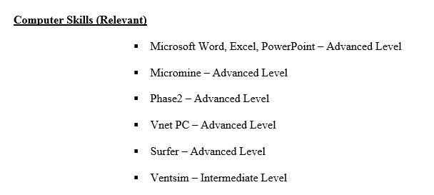 Resume Computer Skills Examples   berathen.Com