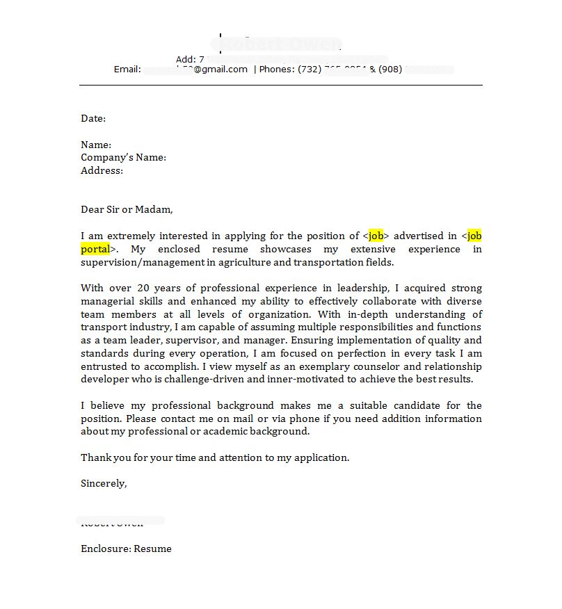 Manager Free Cover Letter Example | resumeperk.com