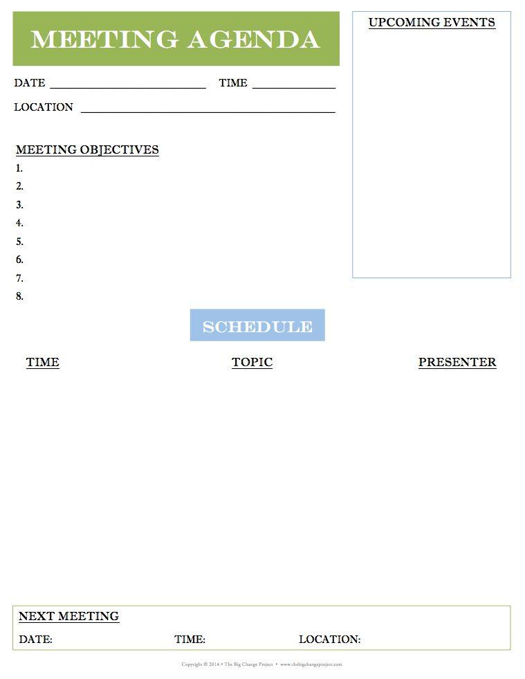 10 Best Images of Meeting Agenda Form - Meeting Agenda Template ...