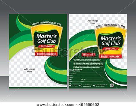 Golf Tournament Flyer Template Design Magazine Stock Vector ...
