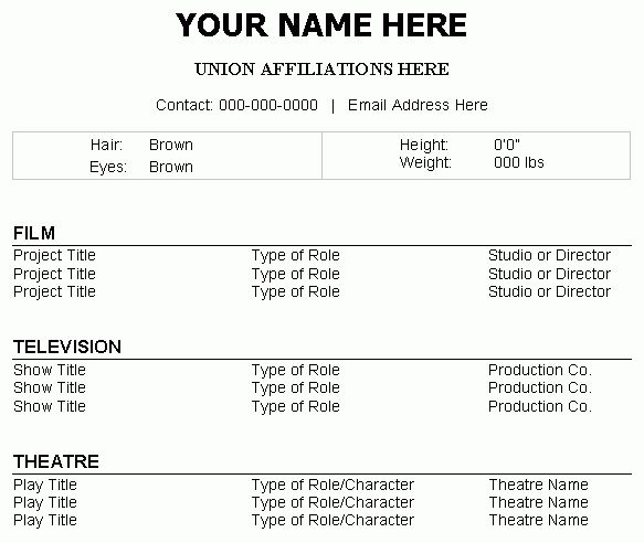 acting resume template. theatre resume technical template res ...