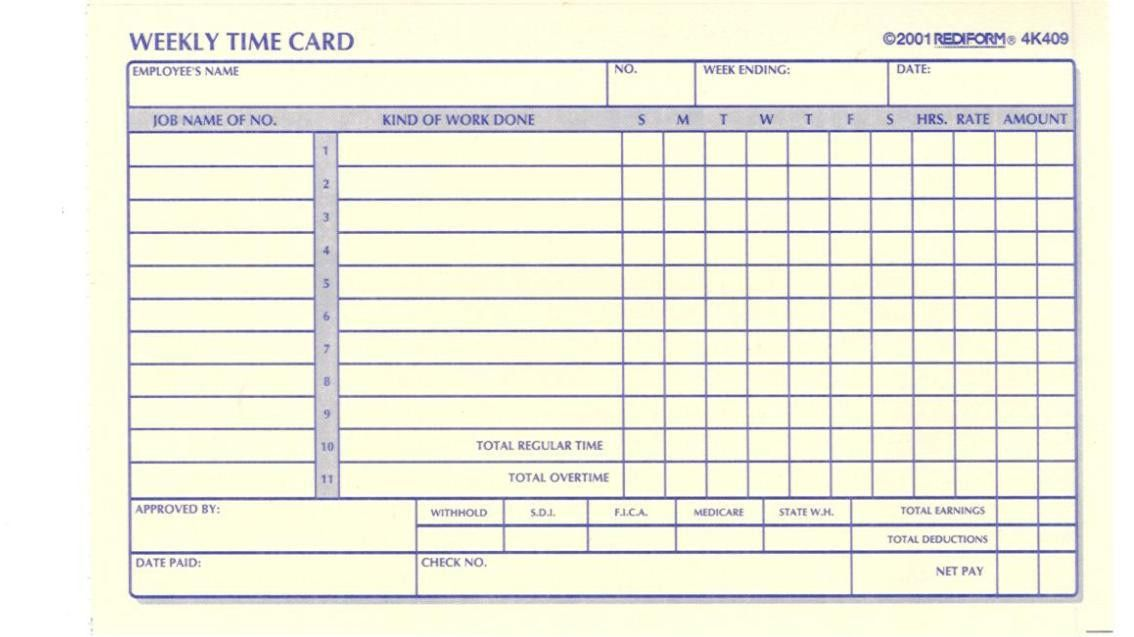 Anyone Have Template For Time Cards? - File Swap - Contractor Talk