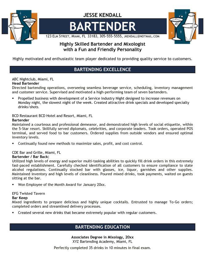 Download Bartender Resume Template | haadyaooverbayresort.com