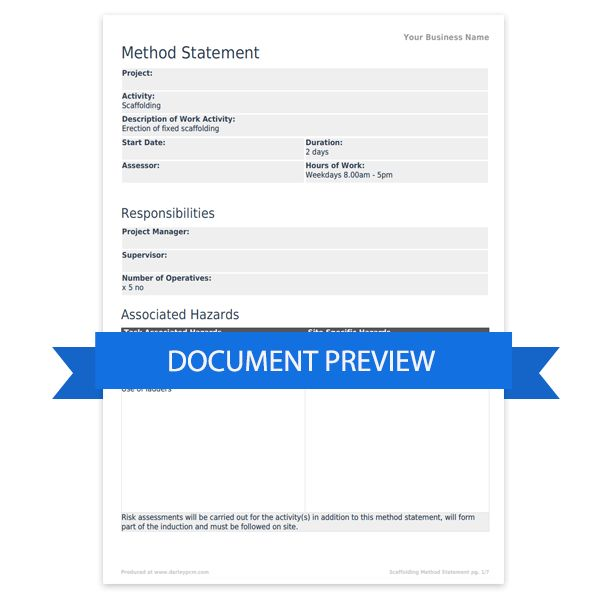 Scaffolding method statement template | Darley PCM
