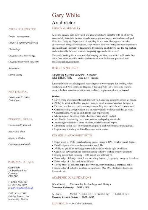 art director CV sample, highly creative, Work with creative ...