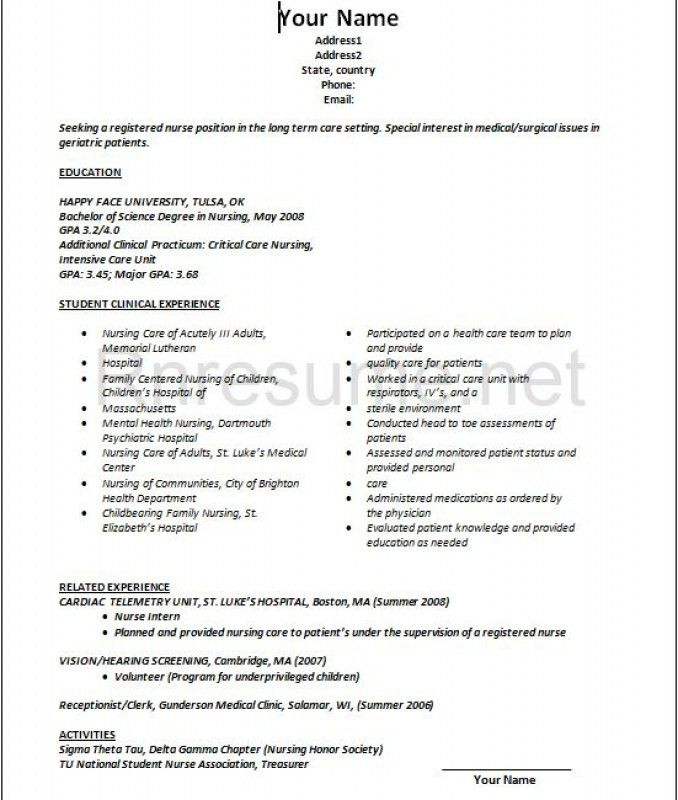 New Graduate Nursing Resume – Resume Examples