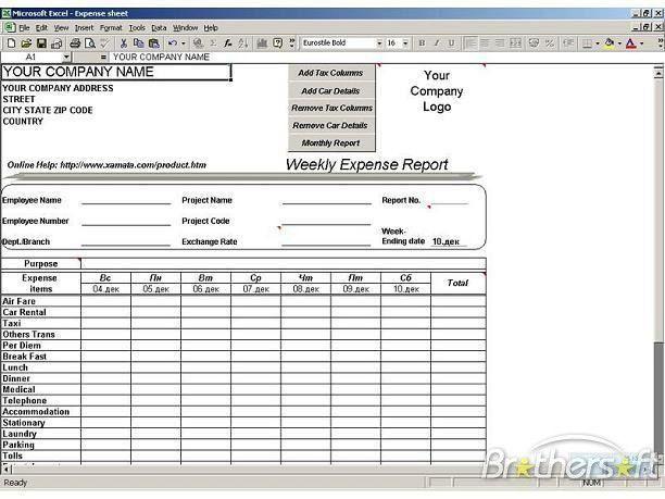 Download Free expense sheet, expense sheet 1.02 Download