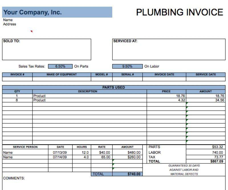 Sample Plumbing Invoices. Hvac Invoice Template Hvac Invoice ...
