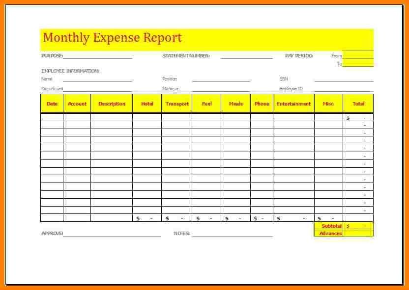 6+ monthly expense report template | Introduction Letter