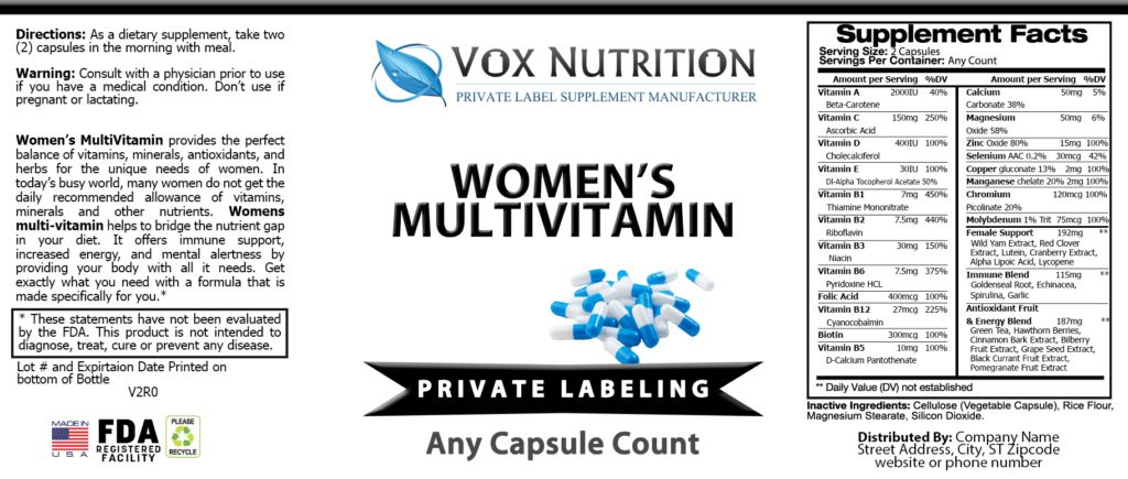 Updated Private Label Womens Multivitamin Supplement | Vox Nutrition