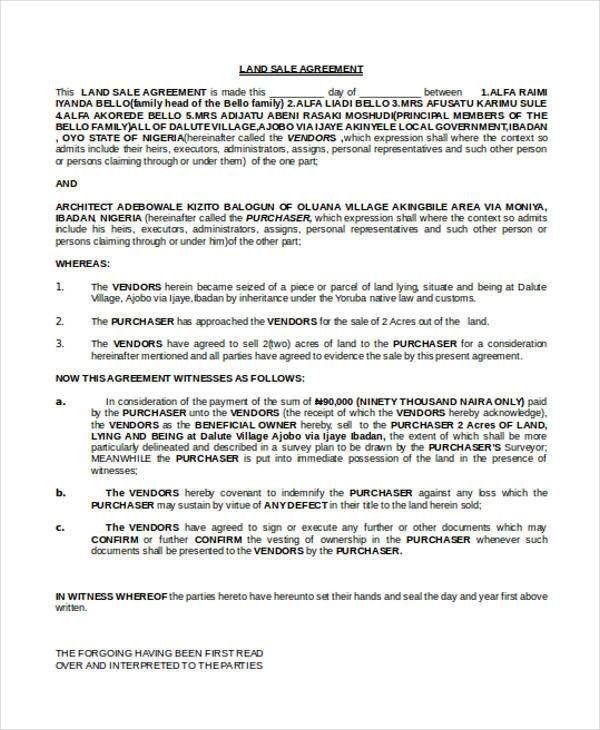 Land Sales Contract. Land Sale Contract Sale Contract ...