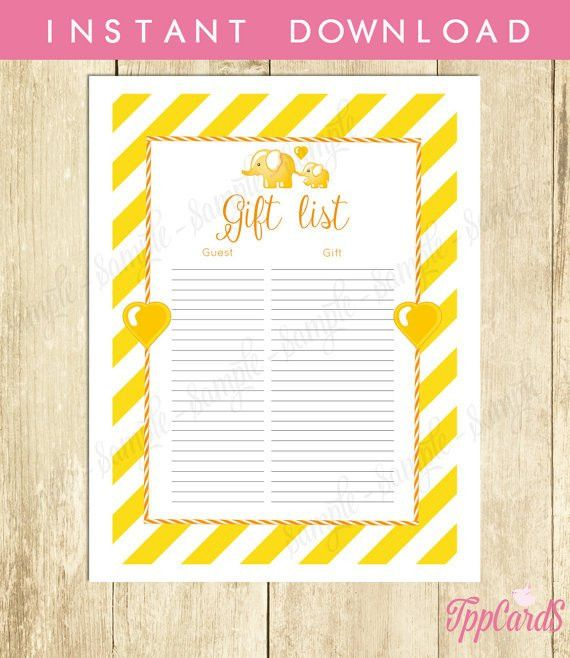 Instant Download Yellow Elephant Baby Shower Gender Neutral Baby ...