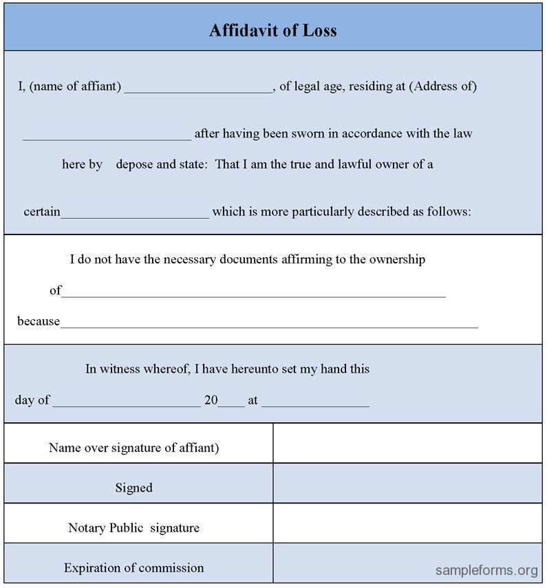 Sample Affidavit of Loss Form | Sample Forms