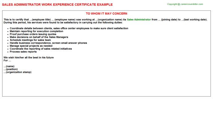 Siteminder Admin Work Experience Certificates