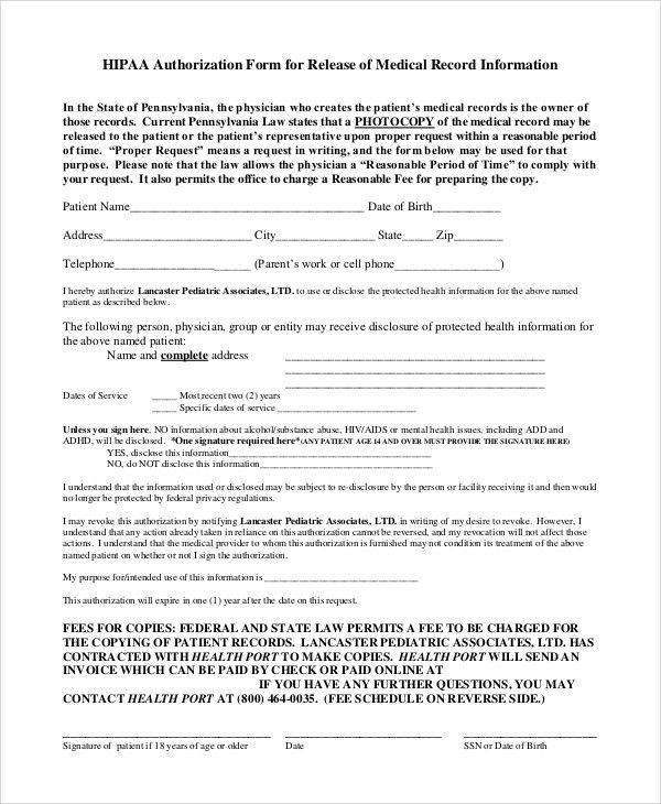 Medical Information Release Form. Blank Medical Records Release ...