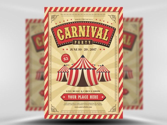 Carnival Event Party Flyer Template - FlyerHeroes