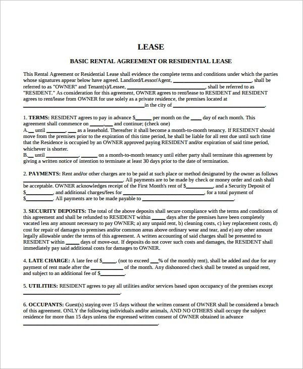 Sample Blank Rental Agreement. Rental Contract Template Template .