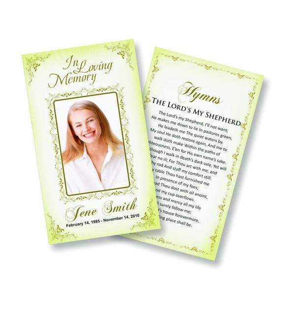 Funeral Prayer Cards (Large) Spiritual #0002 | Online Funeral ...