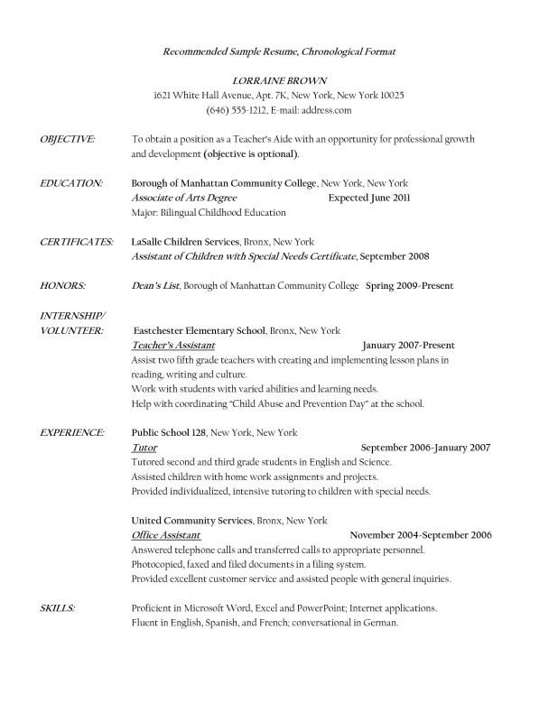 Resume For A Teacher Assistant | Samples Of Resumes