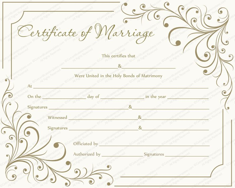 Creamy Gray Marriage Certificate Template - Get Certificate Templates