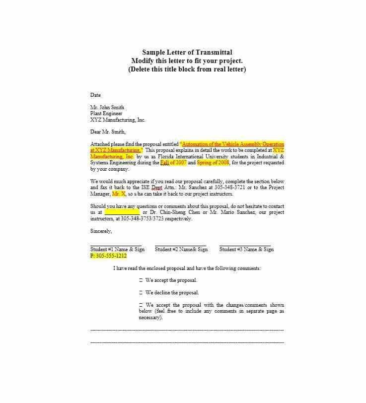 sample letter of transmittal