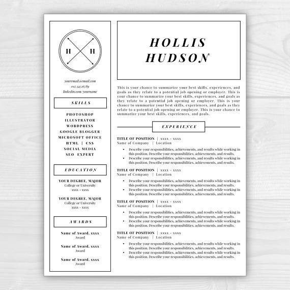 Monogram Resume Template Professional Resume Free Resume