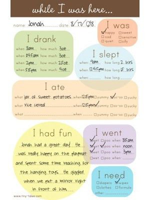 Tiny Tales Babysitter Notes and Daycare Sheets | Babysitter notes ...