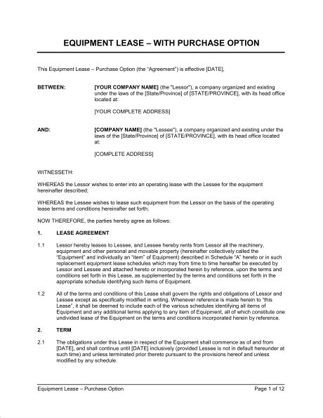 Equipment Lease Agreement With Option to Purchase - Template ...