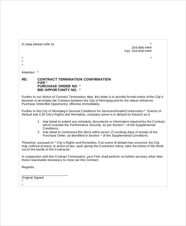 Sample Job Termination Letter - 6+ Documents In PDF, Word