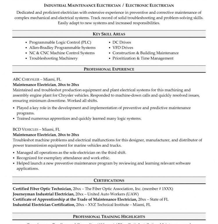 sample resume for maintenance engineer maintenance engineer