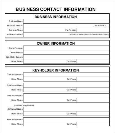 Contact Information Form. Emergency Contact Information Form For ...