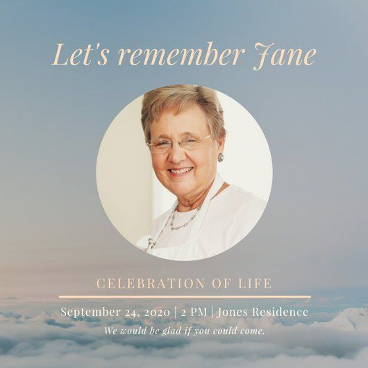 Blue Sky Celebration of Life Woman Invitation - Templates by Canva