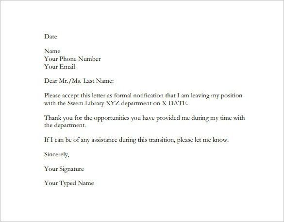 Sample Employment Resignation Letters. Sample Letter Of ...