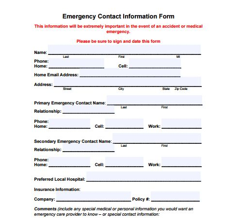 Emergency Contact Information Template. emergency contact form ...